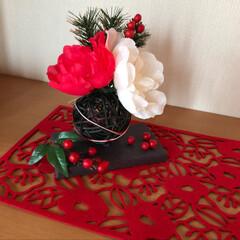 お正月/雑貨/100均/ダイソー/玄関/ハンドメイド しめ縄の材料の残りで飾りも作りました♪