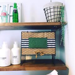 洗剤ボトル/フェイクグリーン/サリュ/棚/レトロ瓶/脱衣室/... 脱衣室の、洗濯機の上です!