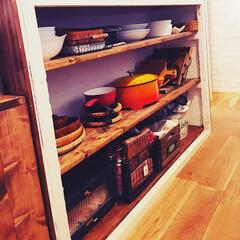 ワトコオイル/木食器/電気グリル鍋/山善/カウンターキッチン/DIY/... カウンターの裏です、、 山善さんの電気グ…(1枚目)