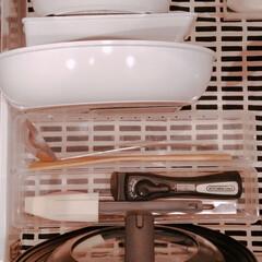 アイリスオーヤマ フライパン ホワイト/マーブル 12点 ダイヤモンドコートパン 12点セット IH対応 ISN-SE12 | アイリスオーヤマ(鍋、フライパンセット)を使ったクチコミ「フライパン収納〜! のイベント終わってた…」