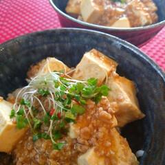 料理/麻婆丼/家事/麻婆豆腐/お昼ごはん/おうちごはん/... お昼は麻婆丼。 いつも違う味だけど、失敗…