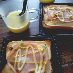 手軽で美味しい/食パン/ハム/キャベツ/トースト/朝パン/... 週末に食べた朝のパン🍞 早起き出来なくて…