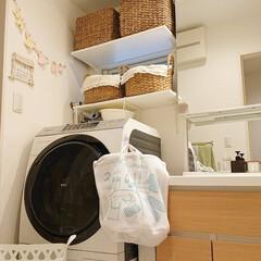 TAKARASTANDARD/スリーコインズ/DIY/ニトリ/おうち 洗面台の中に洗濯ネットを入れていたら、引…