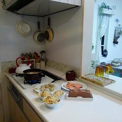 キッチン/TAKARASTANDARD/白いお皿/チョコレートケーキ/夕飯 昨日旦那さんがチョコレートケーキを買って…