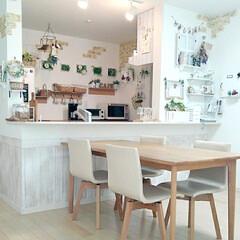 リース手作り/すのこDIY/ガーランド手作り/DIY/100均/セリア/... 我が家のキッチン&ダイニングです♪ナチュ…
