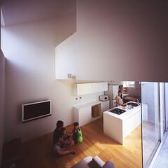 中庭/家型/グッドデザイン賞 アイランドキッチン正面には中庭のシンボル…