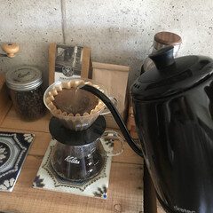 リミアな暮らし/カフェ風インテリア/りんご箱/コーヒードリッパー いい天気の休日^ ^ カフェにでも行きた…