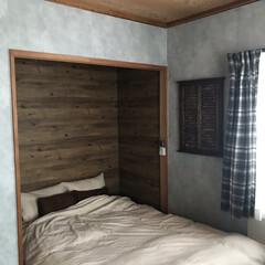 木目壁紙/押入れ改造/和室改造/元和室/DIY 子供部屋の頃は勉強スペース(画像2枚目)…