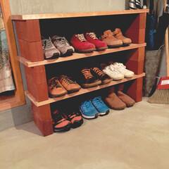 靴箱/モルタル/シューズラック/工具不要/収納 工具不要〜♪ 建築中に余った木板に、ホー…