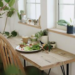 おうちカフェごはん/おうちcafé/テーブルDIY/DIY/古材/足場板 足場板でDIYしたテーブル