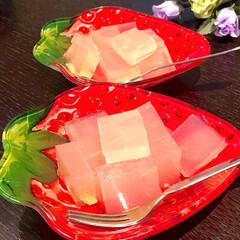果汁100%/アップルジュース/寒天/おやつ 蒸し暑い日はあっさりフルーツ寒天❣️ ホ…