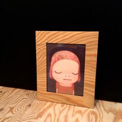 写真立て/インテリア/ハンドメイド/建築 端材の針葉樹合板で作った写真立て。木目の…