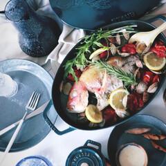 アクアパッツァ/料理/お惣菜/家庭料理/魚/魚料理/... 幸せわたしのごはん💙 ストウブ ラメール…
