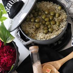 オリーブライス/グリーンライス/天然食材/スピルリナ/クミンライス/クミン/... 先日もちょっとこんなごはん作ってみました…