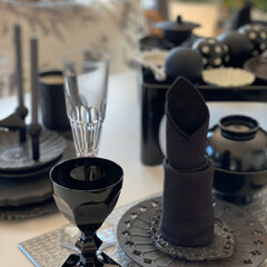 テーブル雑貨/モノトーンインテリア/ちょっとアレンジ/黒/BLACK/キャンドル型/... ちょっといつもと違う和のセッティング に…