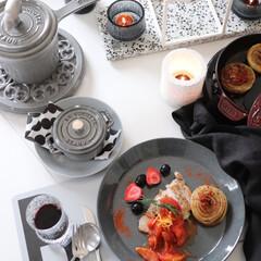 夕飯/創作料理/ポークステーキ/バッラリーニ/ストウブ料理/イッタラ/... わたしの幸せごはん だいたいお昼に創作ご…