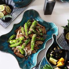 美濃焼 カネコ小兵 黒練輪花 14 プレート 555-0045(皿)を使ったクチコミ「昨日のお昼こおかず 夏の野菜をつかって …」