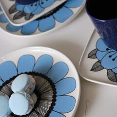 マリメッコ プレート ケスティト 角皿 ブルー marimekko KESTIT 15×12cm 34 159 | marimekko(皿)を使ったクチコミ「フェイクスイーツを作るのに便利なセリアの…」