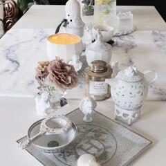 テーブルクロス/大理石/マーブル柄/バカラ/エルメス/アスティエドヴィラット/... おうち時間のセッティング 今週は白を基調…