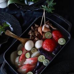 大和物産 スパイスクラブ 竹串18cm 80本 80本(弁当箱)を使ったクチコミ「夏の冷たいおかず 冷やしおでん 夏野菜を…」