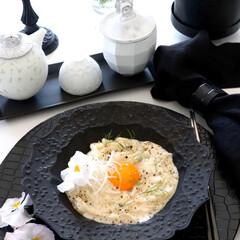うどんでパスタ/毎日ごはん/黒い器/伊藤剛俊/食器/ごはん/... 今日は簡単にうどんで お昼ごはん😬  ト…