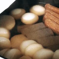 ホワイト/ストウブシャロー/ストウブ/ストウブごはん/冬メニュー/柚味噌で/... 🍢おでん ではありません🤣  頂きものの…