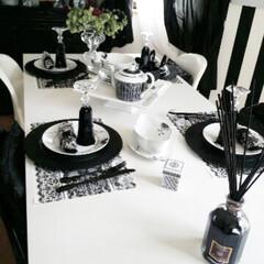 ダイニングテーブル/Dining/テーブル/白黒/インテリア/モノトーンインテリア/... モノトーンインテリア dining ro…