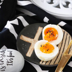 半熟玉子/おつまみ玉子/わたしの幸せごはん/ゆで卵/令和の一枚/LIMIAファンクラブ/... 幸せわたしのごはん😅 といっても ゆで卵…