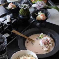 イッタラ カステヘルミ プレート 17cm クリア IITTALA 945 | イッタラ(皿)を使ったクチコミ「ちょっと盛り付けを変えて 洋風お味噌汁を…」