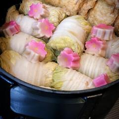 晩ご飯/夕ご飯/おうちごはん/煮浸し/白菜のすり身巻き/ストウブオーバル/... 昨日の晩ご飯 白菜に鯛と海老のすり身と …