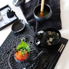 山下工芸 ミニ茶筅箸置 38224000(箸置き)を使ったクチコミ「今日のランチ🖤 巷ではテレワーク解除です…」