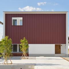 ガルバニウム外壁/四角い家/テラスのある家/縁側のようなテラス 白を基調とした建物に、差し色としてエンジ…