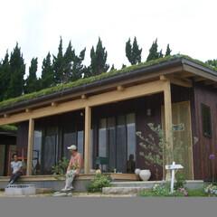 縁側/デッキ/檜/平屋/片流屋根/草屋根/... 敷地内に小道がはしり、地元の人達が散歩で…