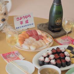 平成最後の一枚/ありがとう平成/令和カウントダウン/寿司/平成最後のごはん/おうちごはん 平成最後の日は、お寿司とシャンパンで乾杯…(1枚目)