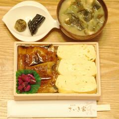 弁当/鰻/京都/おうちごはん/朝ごはん/だし巻き卵 「京都展」で買ったお弁当で朝ごはん。大徳…