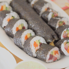 わたしのごはん/恵方巻き/手巻き寿司/家ごはん 少し前に撮った写真ですが、今年の節分の「…