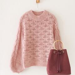 しまむら/ニット/レディース/プチプラ/バッグ しまむらで買った透かし編みニットは、定価…
