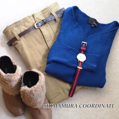 しまむら/しまむらコーデ/プチプラ/プチプラコーデ/秋コーデ/ファッション 【全身しまむらコーデ】ブルーのリブニット…