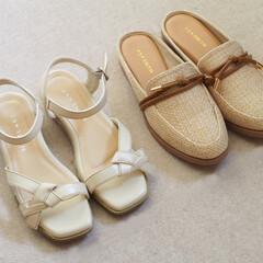 しまむら/サンダル/ミュール/しまパト/プチプラファッション/靴/... 夏に向けて靴を購入しました。左は、甲の部…