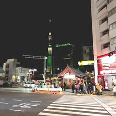 墨田区/台東区/浅草/散歩/スカイツリー/平成最後のクリスマス/... スカイツリーがクリスマスカラー。吾妻橋の…