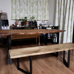 ダイニングベンチ/ダイニングテーブル/わたしの手作り ダイニングテーブルとベンチ完成です❤️ (2枚目)