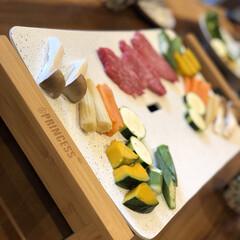 おうちご飯/お気に入りの食器/こだわりのテーブル プリンセスのホワイトホットプレートでオシ…