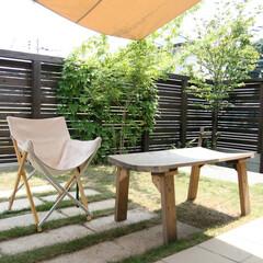 ターフ/板塀/芝張り 手作りアウトドアリビング