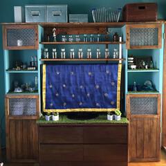 DIY/雑貨/100均/インテリア/ニトリ/無印良品/... テレビ台一体型の棚をDIYしました♪