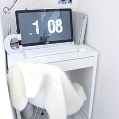シンプルインテリア/インテリア/おしゃれ/やすらぎ空間/リビングの一角/リビング/... リビングのお気に入りの一角の パソコンス…