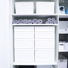 整理収納アドバイザー白石麻里/整理収納アドバイザー/バスタオル収納/脱衣所収納/インテリア/お気に入りの空間/... 脱衣所収納です。 バスタオルは、くるくる…
