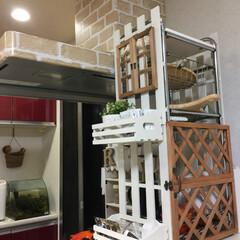 食器棚 ホームセンターに売っていた棚をリメイク。…