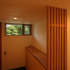 狭小住宅/借景/格子/自然素材/緑 浦和の家 1階玄関ホール 2階から階段を…