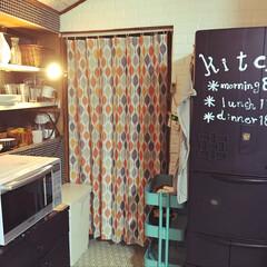 IKEA/田舎暮らし/冷蔵庫リメイク/リフォーム/DIY/100均/... 冷蔵庫真っ黒にリメイク★ ニトリで今日目…
