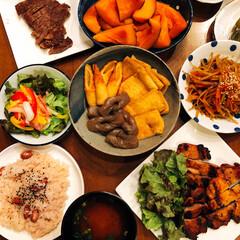 晩御飯/おうちごはん/フード 晩御飯❣️ お赤飯が食べたくて作りました…